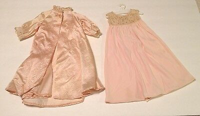 """Vintage Doll Dress Madame Alexander tagged 18"""" Pink Lace Nylon Nightgown Robe"""