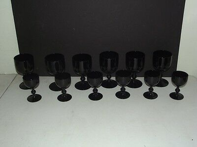6 Pairs Of Large And Small Black Amethyst Goblets