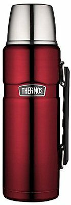 Thermos Stainless Steel King 40 Ounce Beverage Bottle, Cranberry, New, Free Ship