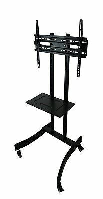 MountRight Black All Steel Trolley TV Display Stand With Bracket and Castors