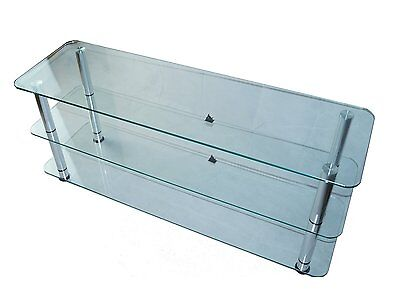 Mountright UMS2C Clear Glass TV Stand For LED LCD & Plasma Television