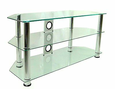 Mountright UMS4C Clear Glass TV Stand For 32 Up To 60 Inch 105cm wide