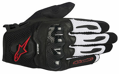 ALPINESTARS SMX-1 AIR Leather/Mesh Motorcycle Gloves (Blk/White/Red) Choose Size