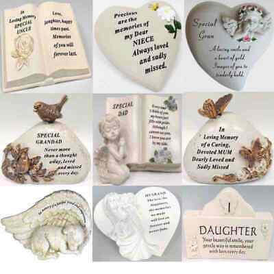 Heart Stone Grave Graveside Memorial Remembrance Garden Plaque Cherub Ornament