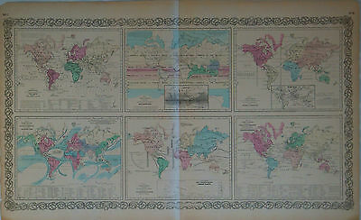 1855 Genuine Antique map Physical World. Plants Animals Meteorology etc. Colton