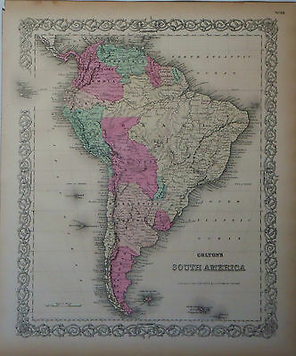1855 Genuine Antique map of South America. Hand colored. Colton