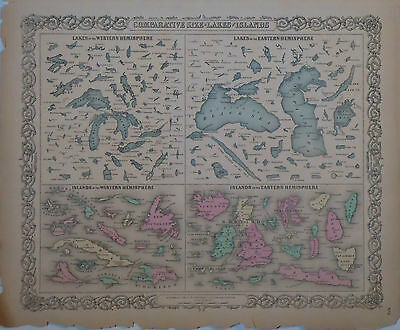 1855 Genuine Antique map comparative size Lakes & Islands. Hand colored. Colton