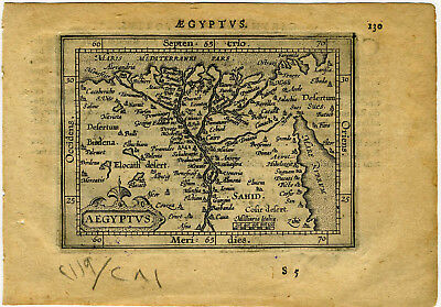 1609 Genuine Antique miniature map Aegyptus, Egypt, Nile River. by A. Ortelius