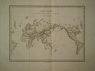1829 Genuine Antique map of the World. Mappa Mondo. Topography. Rossi