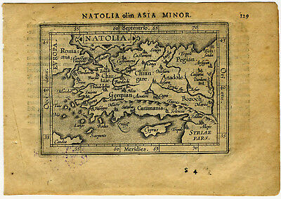 1609 Genuine Antique miniature map Natolia, Asia minor, Turkey. Ortelius