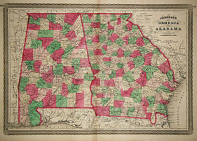 1870 Genuine Antique Hand Colored Map of Georgia & Alabama. Johnson