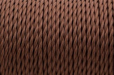 Brown Twisted Silk Braided Vintage Fabric Coloured Lighting Cable 2 core 0.75mm