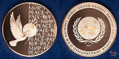 Vereinte Nationen, UN, Peace - Medaille 1973 Kupfer 24g 40mm