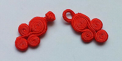 10 pairs red Chinese Frogs buttons - sewing