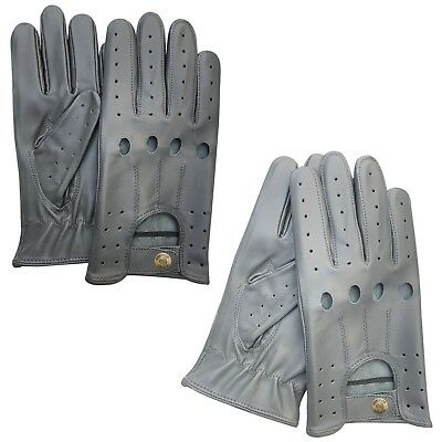 Prime Classic Real Cow Nappa Leather driving Fashion Gloves Dark/Light Grey 507