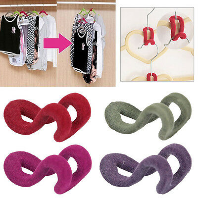 NEW 10X Home Creative Mini Flocking Clothes Hanger Hook Cloth Wardrobe Organizer
