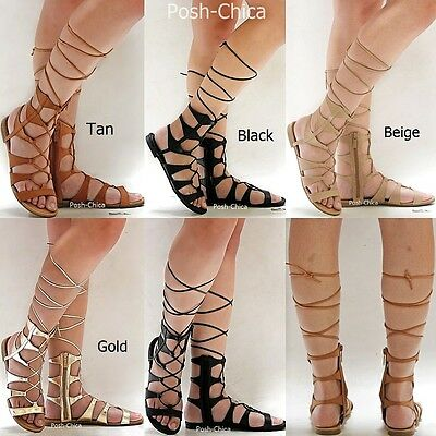 567c9e47b5a New Womens OR3 Black Tan Beige Gold Gladiator Wrap Lace Up Flat Sandals