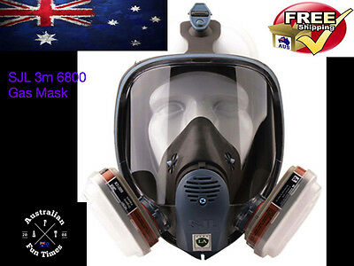 7 piece Suit Respirator Full Facepiece Gas Mask for Painting Spraying 3M 6800 16