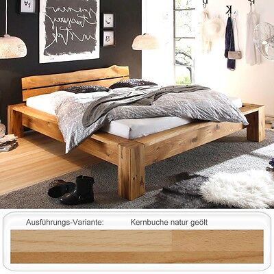 massivholzbett bett 140x200 kernbuche ge lt balkenbett holzbett singlebett vitus eur 629 00. Black Bedroom Furniture Sets. Home Design Ideas