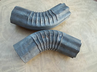 Pair of Old Heavy Grade Galvanized Downpout Elbows, Unused & Solid, Free S/H