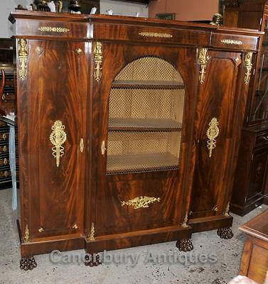 Antique French Empire Bookcase Cabinet Flame Mahogany 1880
