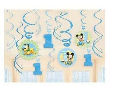 Disney Mickey Mouse 1st First Birthday Party Swirl Decorations