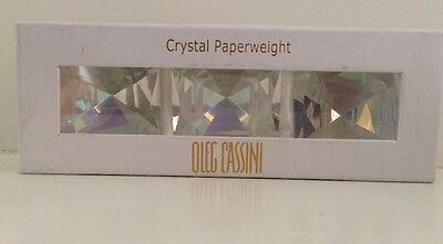 BNEW Oleg Cassini Signed Clear Crystal Paperweight set of 3