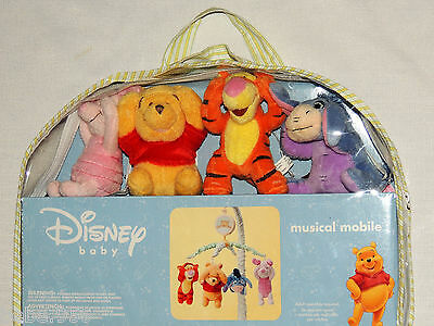 """New  In Package"""" Disney Winnie The Pooh""""  Baby Crib Musical Mobile Plush Figures"""