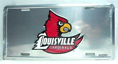 Louisville Cardinals Chrome License Plate Car Truck Auto Tag Man Cave Game Room