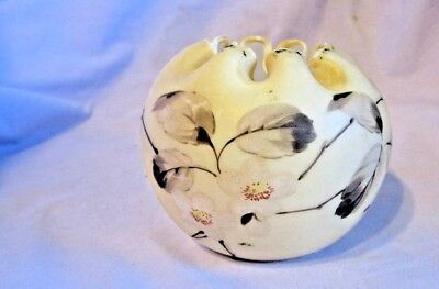 ANTIQUE ROSE Bowl  PLANTER VASE HAND PAINTED GLASS Ruffled FLOWER Pottery PONTIL