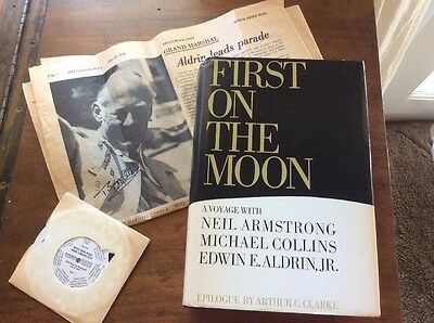 Collection Including Buzz Aldrin Signed 1978 Newspaper, First On The Moon Book