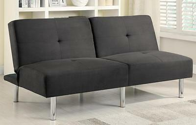 Contemporary Charcoal Microfiber Sofa Bed with Split Back by Coaster 300206