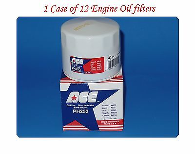 12 Engine Oil Filter PH253 ACE Made in USA Fits: Chrysler Dodge Jeep Mitsubishi