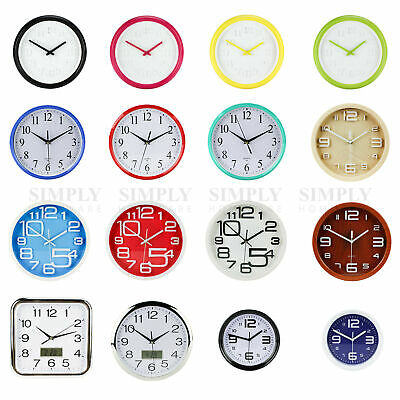 Wall Clock Large Modern Clocks Kitchen Black White Red Blue Silent Quartz Aus