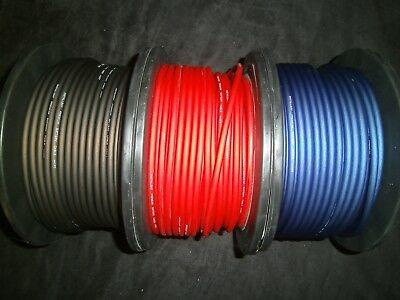 10 Gauge Awg Wire 100 Ft Each Red Black Blue Cable Power Ground Stranded Primary