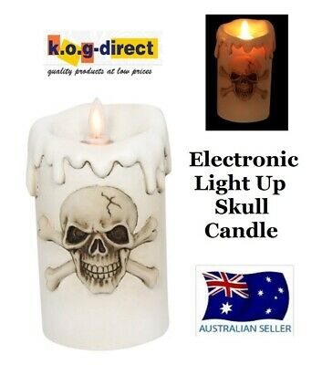 Electronic Flameless Led Skeleton Skull Candle Battery Operated 15Cm Skulflam