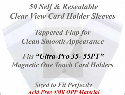 50 Superior Fit Sleeves For Ultra Pro Magnetic Card Holders 35 and 55 PT Cases