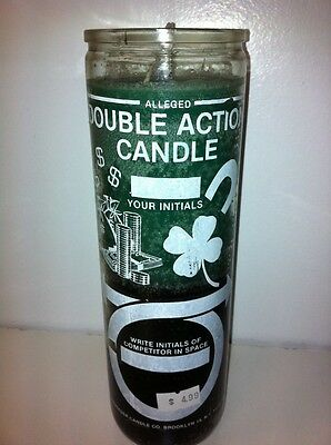 Money Double Action 7 Day 2 Color (Green & Black) Unscented Candle In Glass