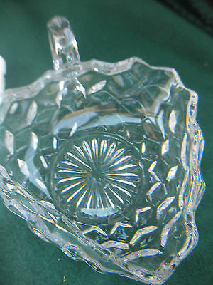 ANTIQUE 3 SIDED Serving DISH / BOWL w Handle  CRYSTAL Cut GLASS