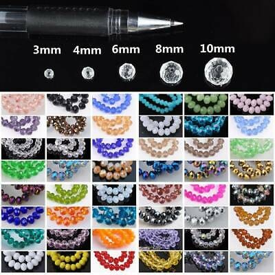 Wholesale 3mm/4mm/6mm/8mm/10mm Rondelle Faceted Loose Spacer Glass Beads Bulk