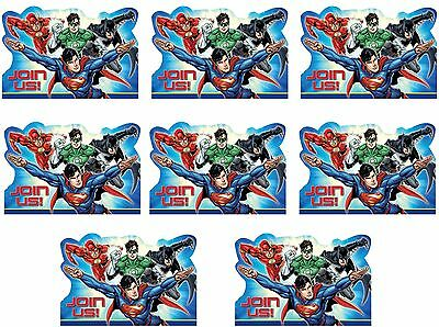 8 x Justice Leauge Superheros Birthday Party Carded Invitations and Envelopes
