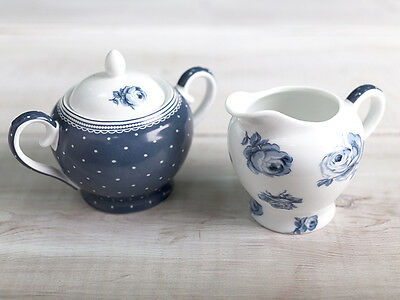 KATIE ALICE Vintage Indigo SUPER WHITE PORCELAIN Sugar Bowl and Creamer Jug Set