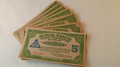 50 Antique Vintage  Cigar Store Mutual-Profit Coupons New York