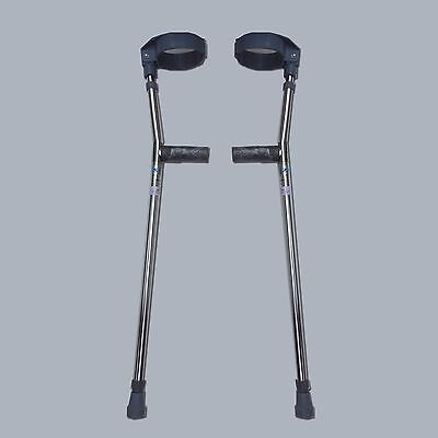Forearm Crutches Silver Size M (Pair), Walking Lightweight Adjustable Small Cuff