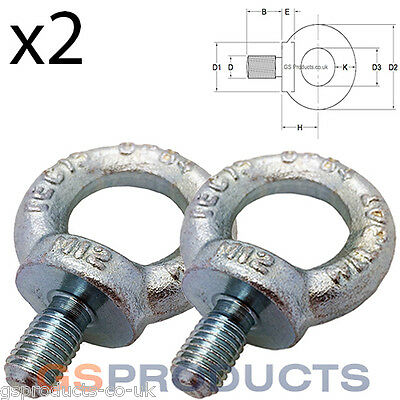 2x M16 BZP Steel Lifting Eyebolt DIN 580 16mm Eye Bolt FREE P+P