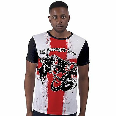 St George's Day Knight & Dragon England Flag Mens T Shirt