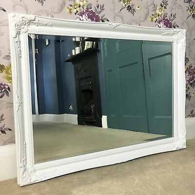 Beautiful Large WHITE Overmantle Wall MIRROR Antique Vintage 3ft 6""