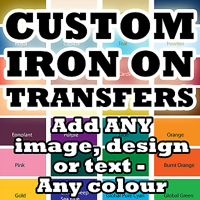 Custom Iron On T Shirt Transfer Personalised Text * Quality Prints * Any Name
