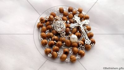 CATHOLIC rosary WHITE PEARL prayer SILVER cross HOLY LAND