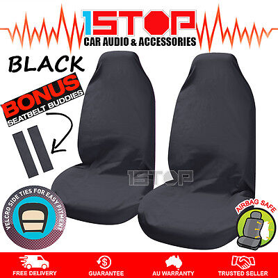 2 x BLACK THROW OVER BUCKET SEAT COVERS AIRBAG SAFE! SLIP ON THROWOVER UNIVERSAL